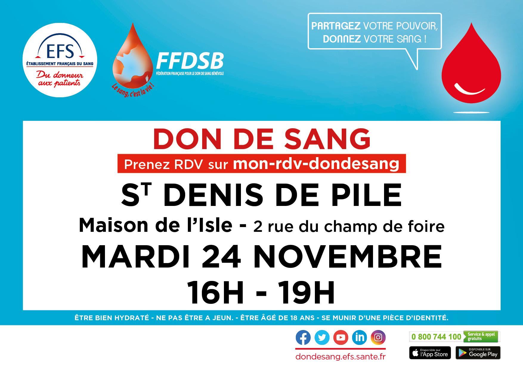 DON DU SANG St DENIS de PILE  le 24 Novembre 2020