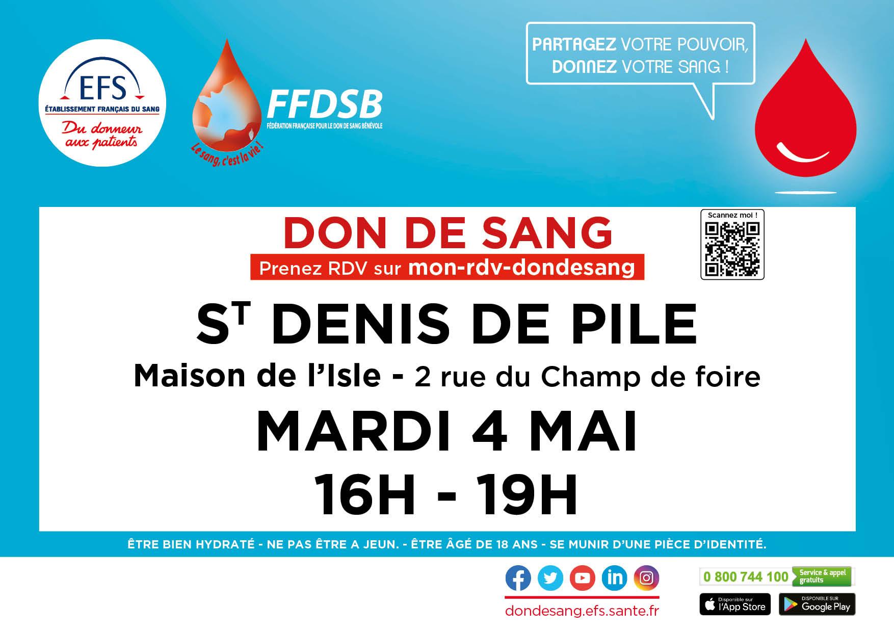DON du SANG St Denis de Pile le 4 mai 2021