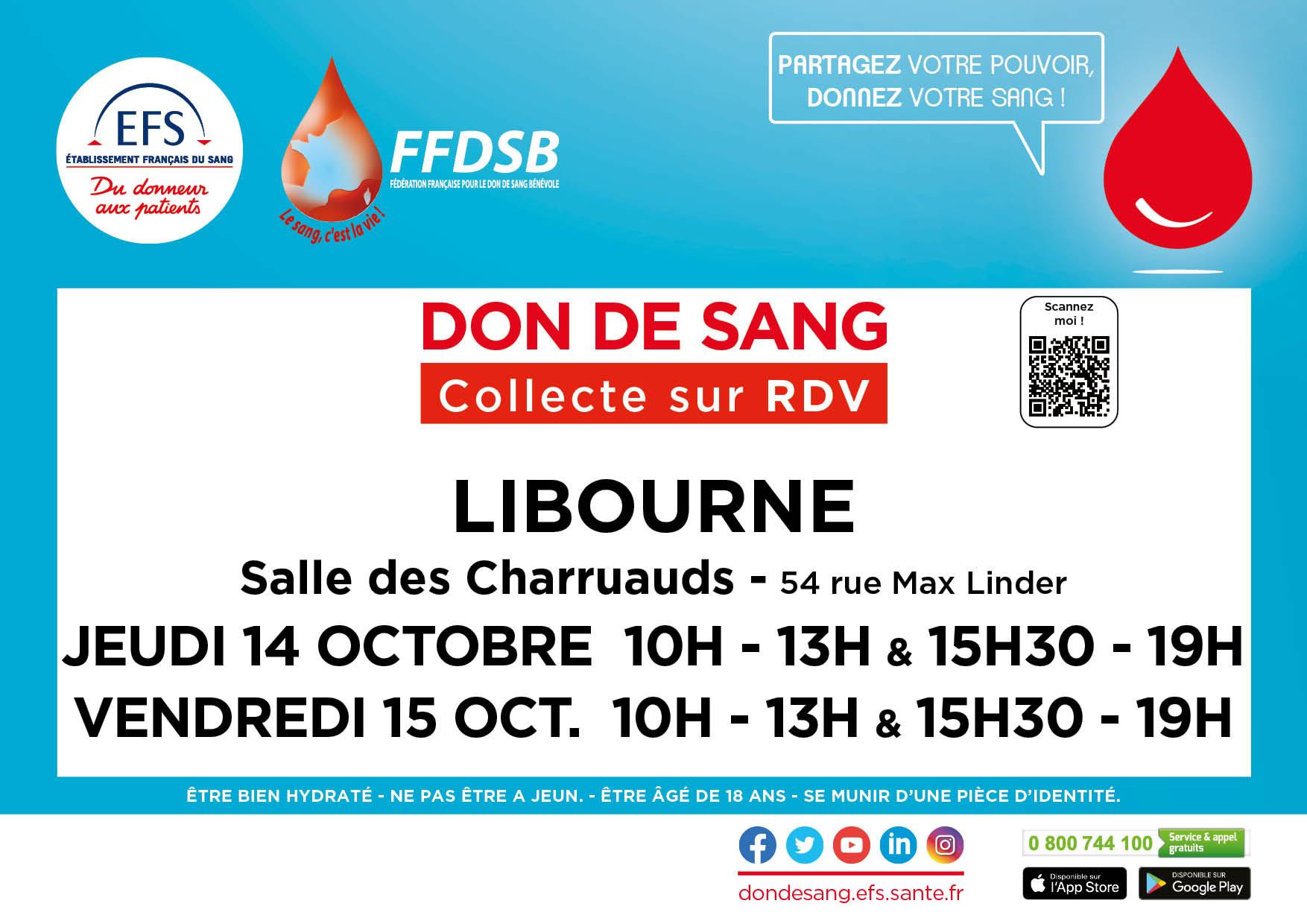 Collectes  de sang à Libourne le jeudi 14 et vendredi 15  octobre sur RDV