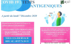 Test antigéniques COVID dès le 7 décembre
