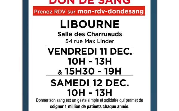 Don du sang à LIBOURNE les 16 et 17 octobre 2020